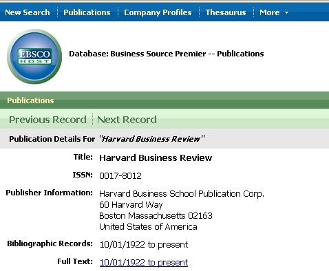 Suchmaske EBSCO Business Source Premier