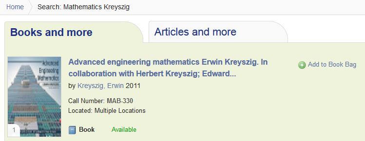 TUBfind Recherche: mathematics kreyszig