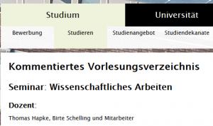 Seminar Wissenschaftliches Arbeiten im Kommentierten Vorlesungsverzeichnis