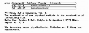 Example of a STG catalog card