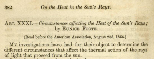 Beginning of paper by Eunice Foote