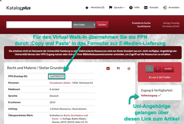 Zugang E-Artikel KatalogPlus