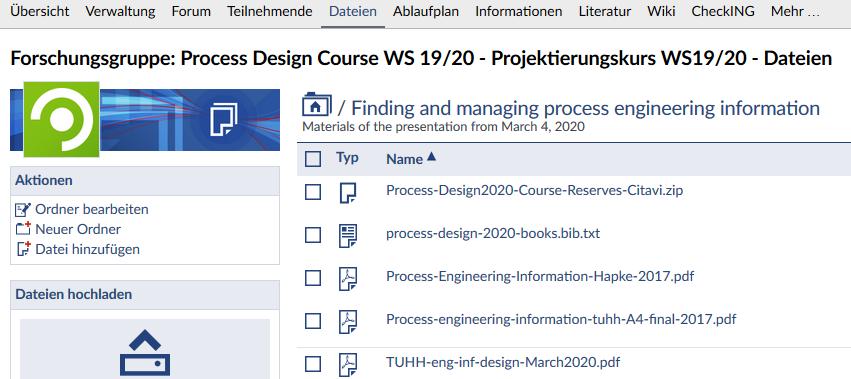 Angebot der tub. zum Projektierungskurs in Stud.IP