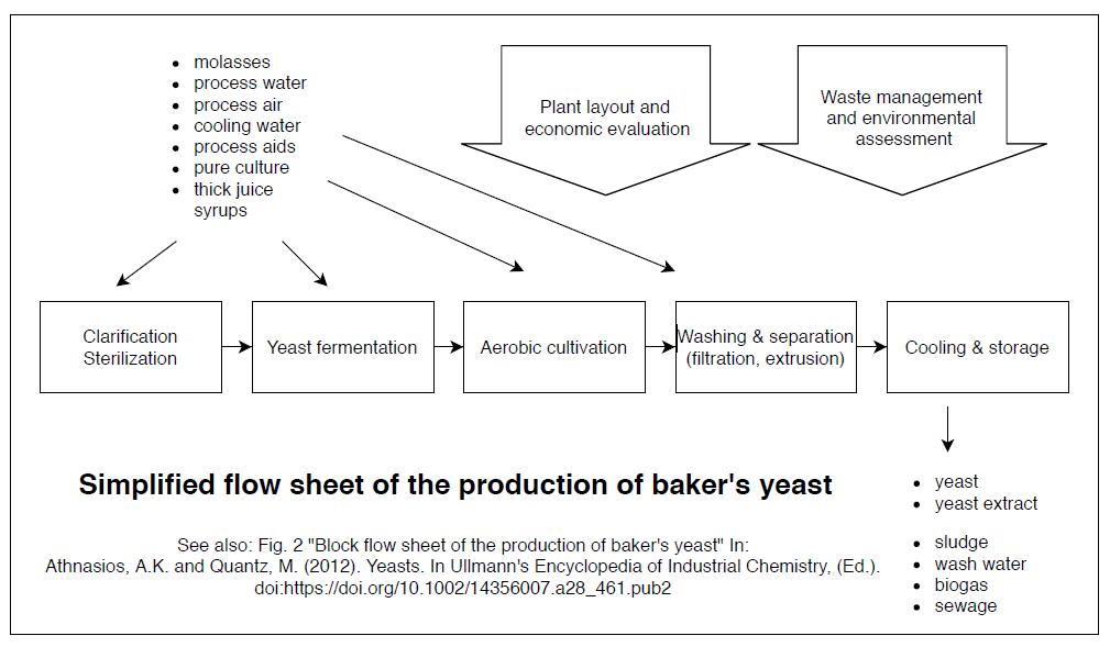 Vereinfachtes Flowsheet-Diagramm zur Produktion von Hefe