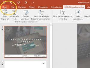 Menü zur Speicherung der Datei