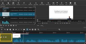 """Zusätzliche Spuren erstellen: Weitere Video- oder Audiospuren werden über Rechtsklick auf """"V1"""" erstellt."""