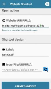 Website Shortcut einrichten