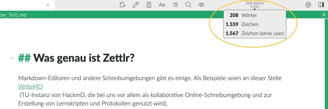 Dateiinformationen in Zettlr
