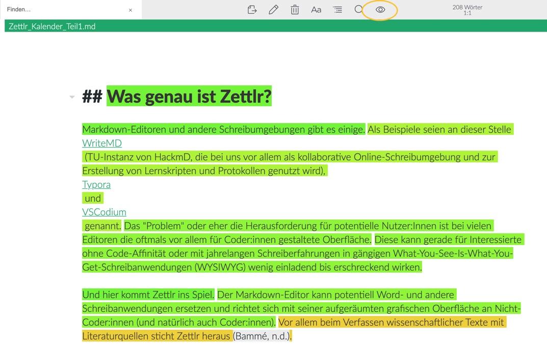 Lesbarkeitsmodus Zettlr