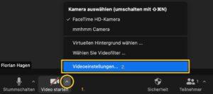 Die automatische Helligkeitsregelung von Zoom wird über die Videoeinstellungen gesteuert.