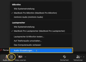 Der Weg ins Audio-Menü.