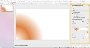 """Nach einem Rechtsklick auf den leeren Foliensatz und Auswahl von """"Hintergrund formatieren..."""" öffnet sich das Menü mit Formatoptionen."""