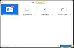 """Eine Präsentation als virtueller Hintergrund lässt sich im Bildschirmfreigabemenü über """"Erweitert"""" aktivieren."""