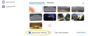 Die Greenscreentechnik kann über das Menü der virtuellen Hintergründe aktiviert werden.