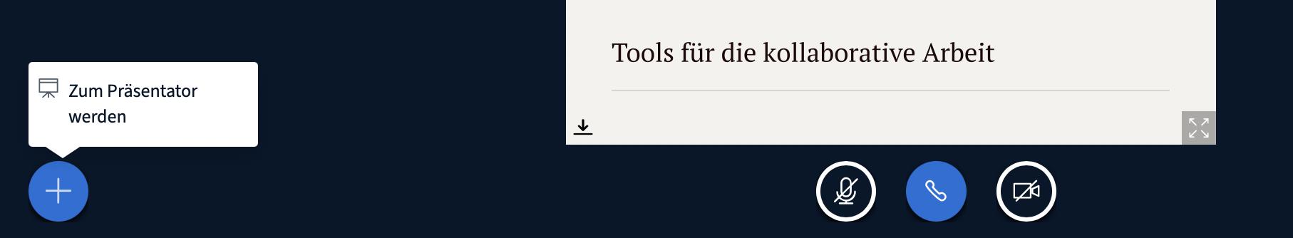 """Steht die Option """"Bildschirm teilen"""" nicht zur Verfügung, so muss zunächst der Präsentator:innen-Status aktiviert werden."""