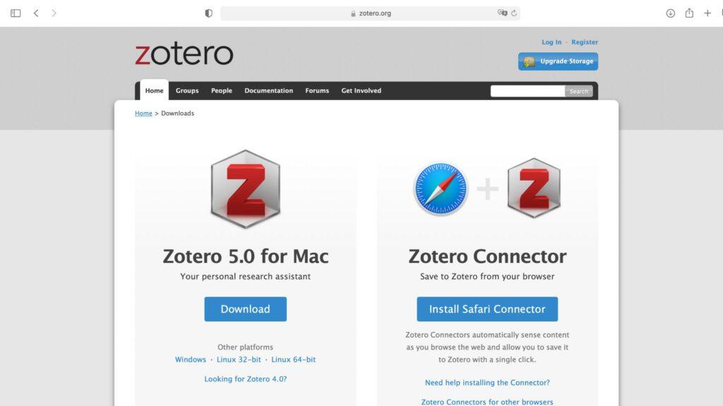 Zotero Webseite