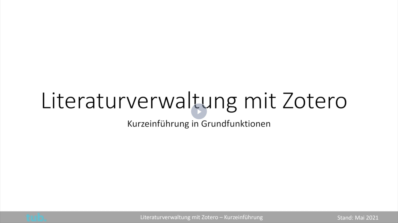 Startbild Zotero-Video