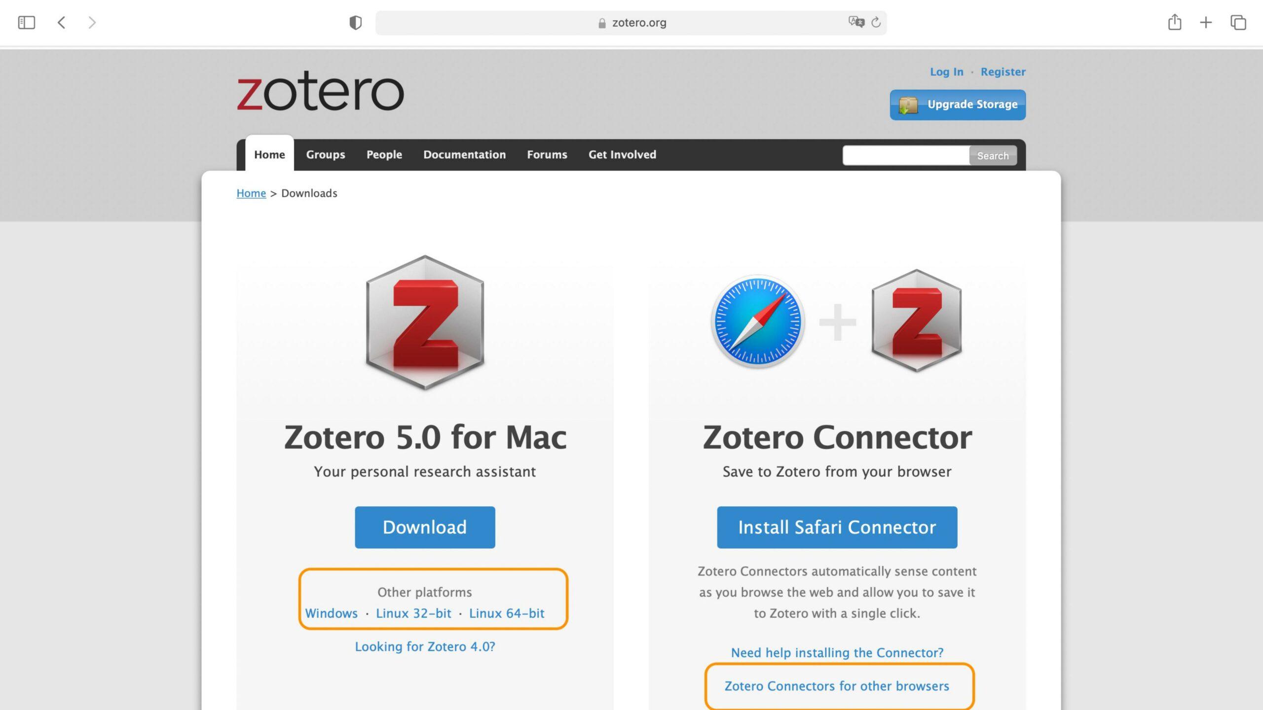Zotero-Webseite
