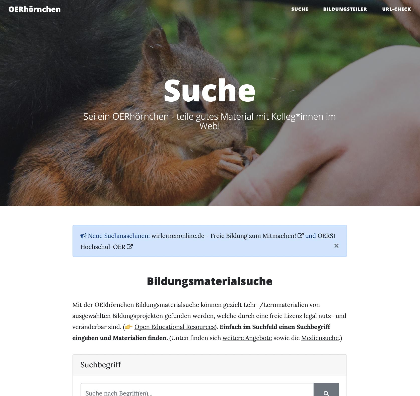 Screenshot OERhörnchen