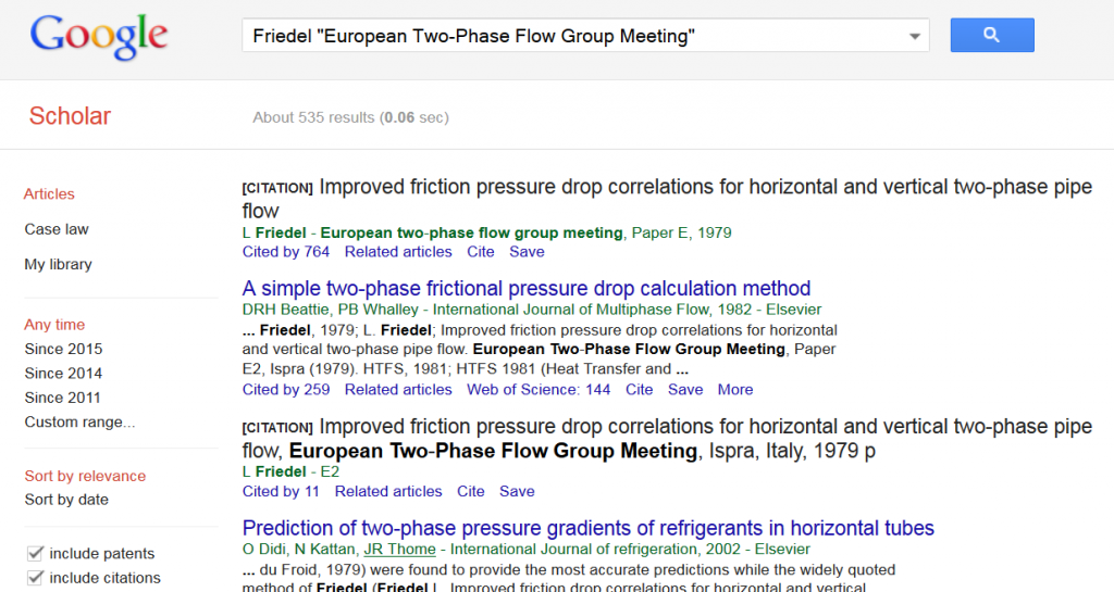 "Google Scholar Recherche nach Friedel ""European Two-Phase Flow Group Meeting"""