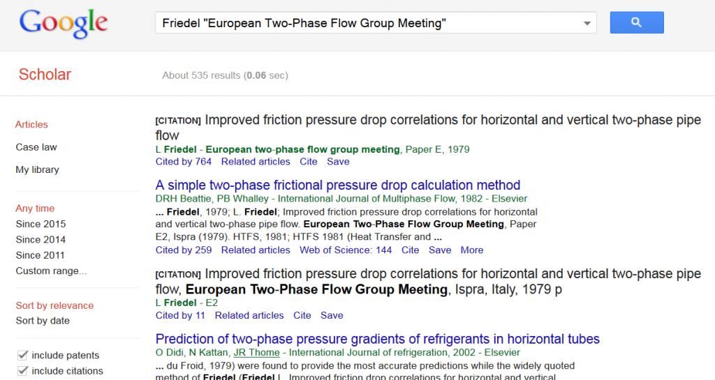 "Google Scholar Recherche nach Friedel ""European Two-Phase Flow Group Meeting"""