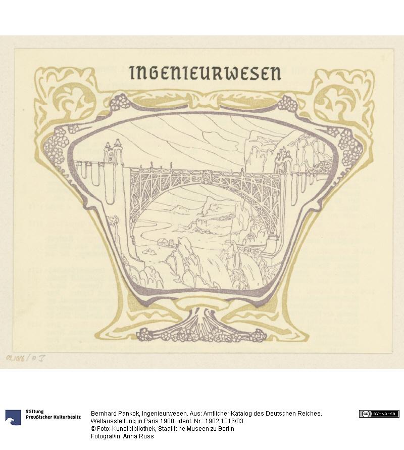 Buchgrafik (Vignette) Ingenieurwesen. Aus: Amtlicher Katalog des Deutschen Reiches. Weltausstellung in Paris 1900