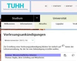 Ankuendigung Seminar Wissenschaftliches Arbeiten im Wintersemester 2015/16