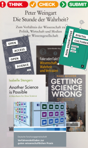 Collage aus Buchcovern zu Fake und Wissenschaft