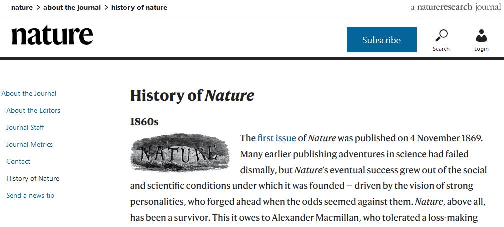 Zur Geschichte der Zeitschrift Nature (Screenshot)