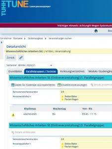Screenshot Tune Seminar Wissenschaftliches Arbeiten für Bachelor-Studierende