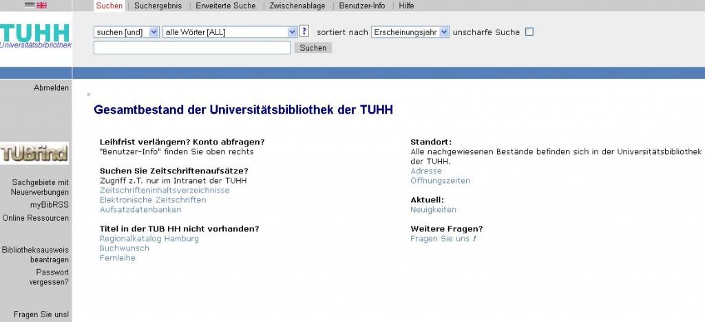 Klassischer Katalog TUHH (Screenshot)