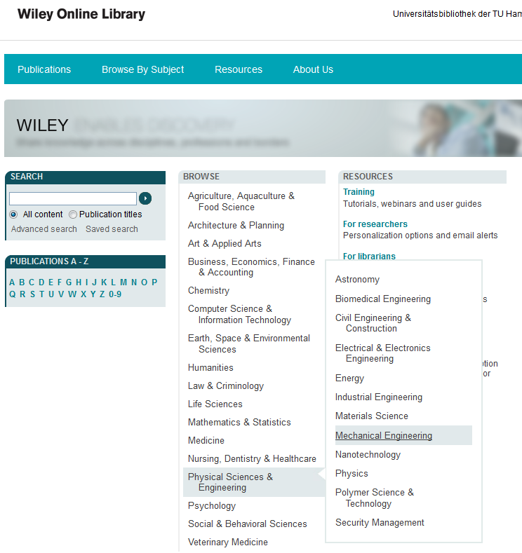 Browsing in der Wiley Online Library
