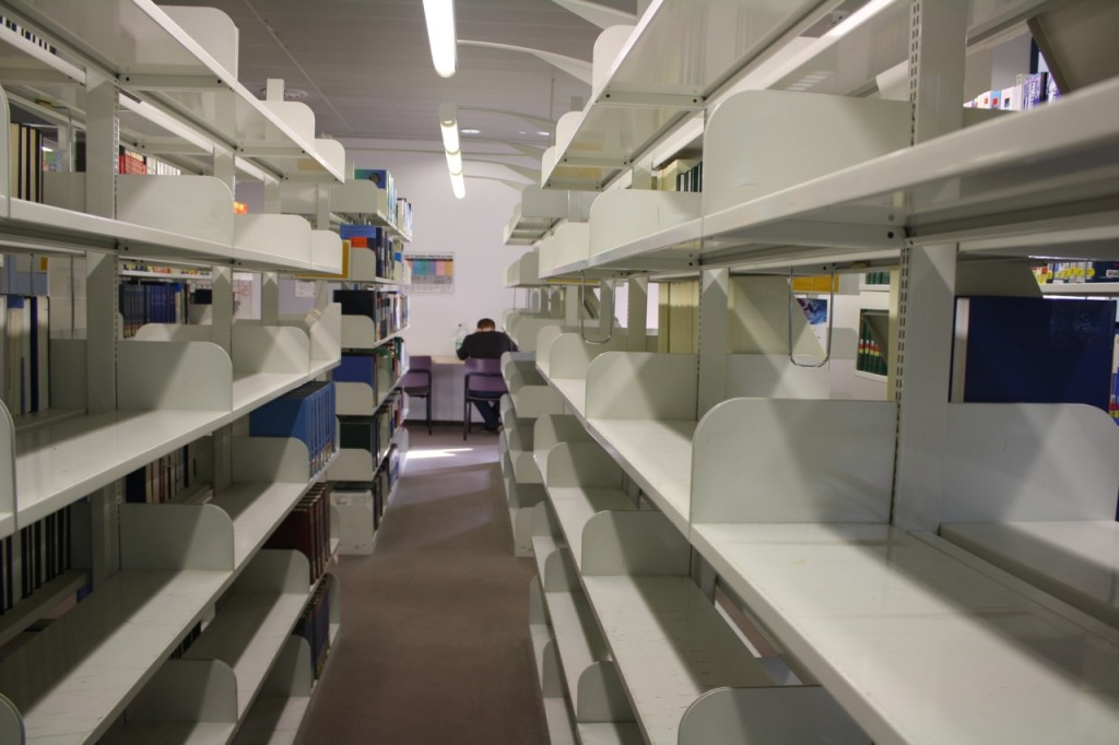Empty shelfs in upper reading room