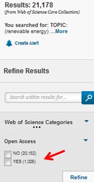 Selektieren von Open-Access-Artikeln in Web of Science-kleiner