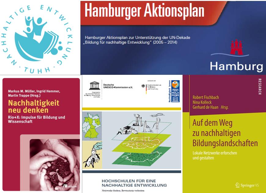 BNE-Bild TUHH (Collage aus Hamburger Aktionsplan, TUHH-Nachhaltigkeits-Logo und Covern von Medien in der TUHH-Bibliothek)