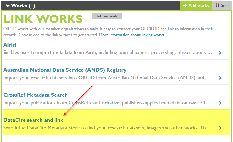 ORCID - DataCite search and link