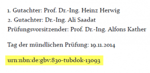 URN in Dissertations-PDF