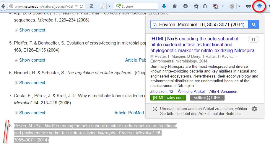 Google Scholar Button Beispiel