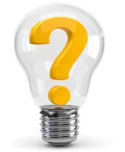 Glühlampe mit Fragezeichen
