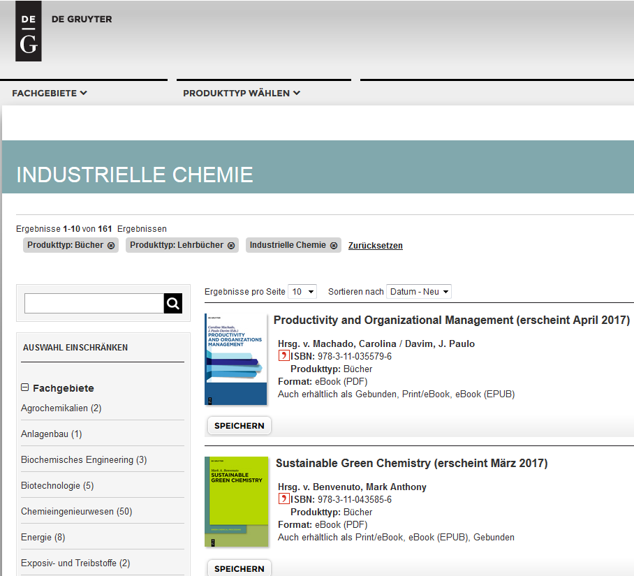 Books on industrial chemistry from publisher De Gruyter (Screenshot)