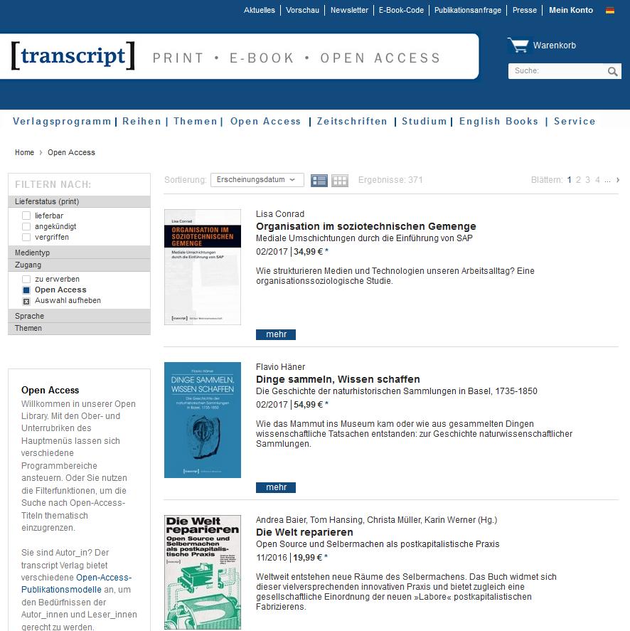 Open-Access-Bücher beim Verlag transcript