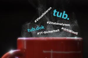 Foto einer Kaffeetasse mit den Themen der Coffeee Talks