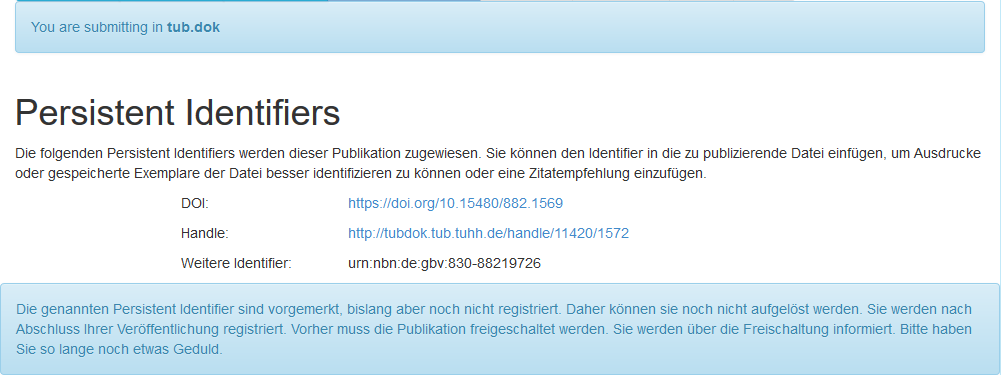 Persistent Identifiers wie DOI in tub.dok (Screenshot)