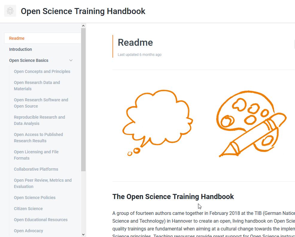 Scrrenshot Open Science Training Handbook