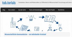 tub.torials - Wissenschaftliche Kommunikation, ein Kreislauf (Screenshot)