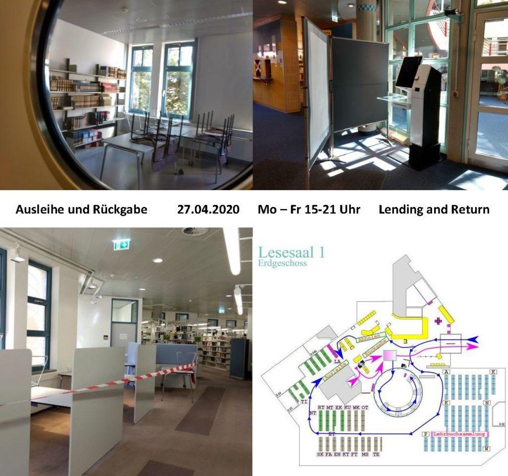 Fotocollage: geschlossene Publikumsbereiche sowie Wegeführung zur Ausleihe ab 27.04.2020